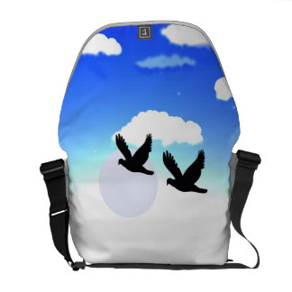 sky with birds image on laggage or school bag courier bags