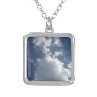 Sky with clouds silver plated necklace