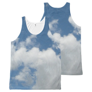 Sky with Fluffy Clouds All over Tank Top