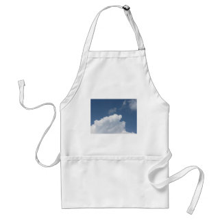 Sky with giants clouds and sun rays through adult apron
