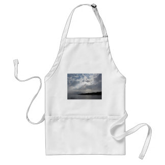 Sky with giants cumulonimbus clouds and silhouette adult apron