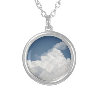 Sky with giants cumulonimbus clouds silver plated necklace