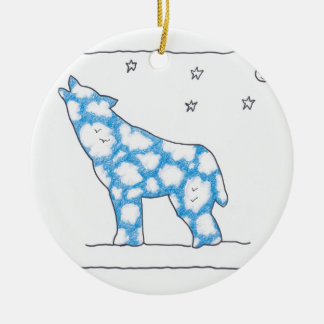 SKY WOLF MOON STAR LANDSCAPE by Ruth I. Rubin Double-Sided Ceramic Round Christmas Ornament
