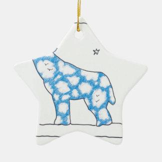 SKY WOLF MOON STAR LANDSCAPE by Ruth I. Rubin Double-Sided Star Ceramic Christmas Ornament