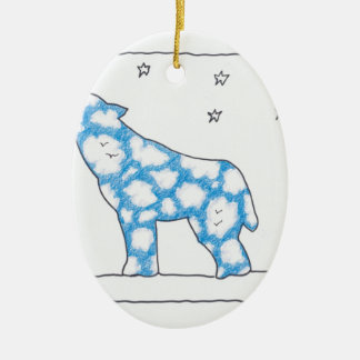 SKY WOLF MOON STAR LANDSCAPE by Ruth I. Rubin Double-Sided Oval Ceramic Christmas Ornament