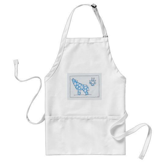 SKY WOLF ONE PAW LANDSCAPE by Ruth I. Rubin Adult Apron