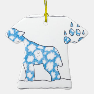 SKY WOLF ONE PAW LANDSCAPE by Ruth I. Rubin Double-Sided T-Shirt Ceramic Christmas Ornament