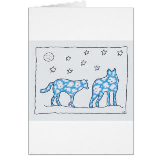 SKY WOLF TWO LANDSCAPE by Ruth I. Rubin Greeting Cards