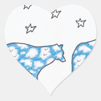SKY WOLF TWO LANDSCAPE by Ruth I. Rubin Heart Sticker