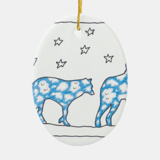 SKY WOLF TWO LANDSCAPE by Ruth I. Rubin Double-Sided Oval Ceramic Christmas Ornament