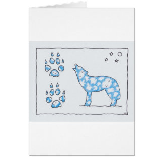 SKY WOLF TWO PAWS, by Ruth I. Rubin Greeting Card