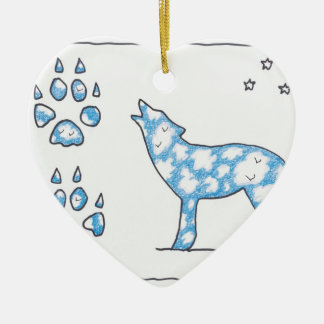 SKY WOLF TWO PAWS, by Ruth I. Rubin Christmas Ornaments