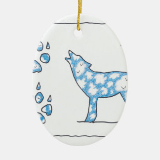 SKY WOLF TWO PAWS, by Ruth I. Rubin Ornament