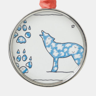 SKY WOLF TWO PAWS, by Ruth I. Rubin Round Metal Christmas Ornament