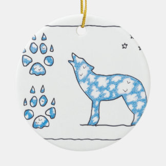 SKY WOLF TWO PAWS, by Ruth I. Rubin Christmas Tree Ornaments