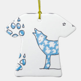 SKY WOLF TWO PAWS, by Ruth I. Rubin Double-Sided T-Shirt Ceramic Christmas Ornament
