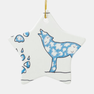 SKY WOLF TWO PAWS, by Ruth I. Rubin Christmas Ornament