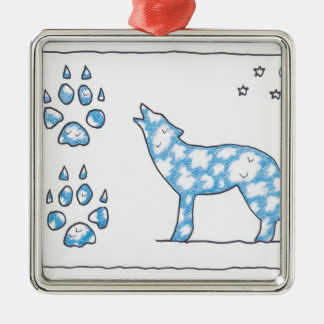 SKY WOLF TWO PAWS, by Ruth I. Rubin Christmas Tree Ornament