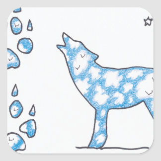 SKY WOLF TWO PAWS, by Ruth I. Rubin Square Sticker