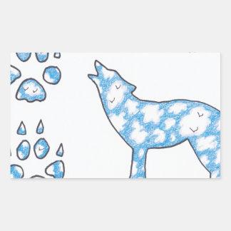 SKY WOLF TWO PAWS, by Ruth I. Rubin Rectangular Sticker