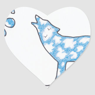 SKY WOLF TWO PAWS, by Ruth I. Rubin Heart Sticker