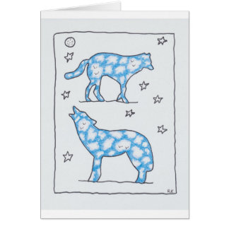 SKY WOLF TWO PORTRAIT by Ruth I. Rubin Greeting Cards
