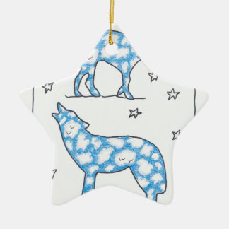 SKY WOLF TWO PORTRAIT by Ruth I. Rubin Double-Sided Star Ceramic Christmas Ornament