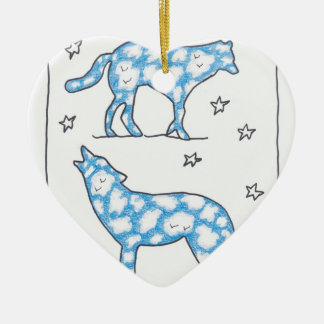 SKY WOLF TWO PORTRAIT by Ruth I. Rubin Double-Sided Heart Ceramic Christmas Ornament