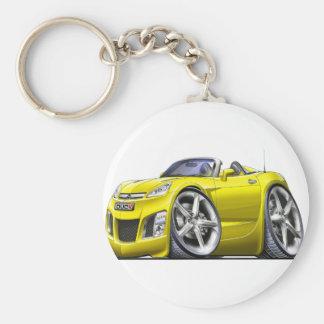 Sky Yellow Car Basic Round Button Keychain