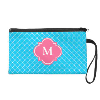 Skyblue and Pink  Mongoram Wristlet Gift for Her