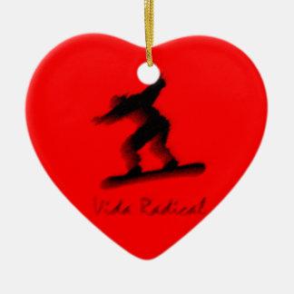 Skyboard Radical Life Vida Radical Double-Sided Heart Ceramic Christmas Ornament
