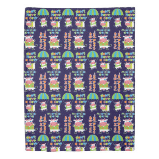 Skydive Cow Cute Quotes Pattern Duvet Cover