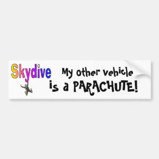 ¡Skydive- mi otro vehículo, es un PARACAÍDAS! Pegatina De Parachoque