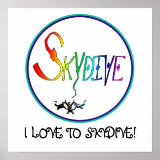 Skydive Rainbow Circle Poster
