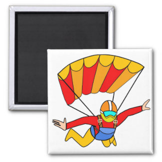 Skydive Red Yello Parachute 2 Inch Square Magnet