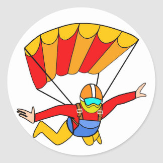 Skydive Red Yello Parachute Classic Round Sticker