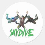 Skydive - texto verde pegatina redonda