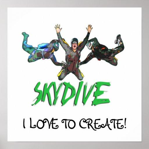 Skydive - texto verde póster