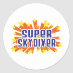 Skydiver estupendo etiquetas redondas