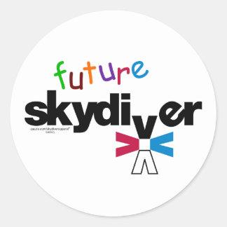 Skydiver futuro etiqueta redonda