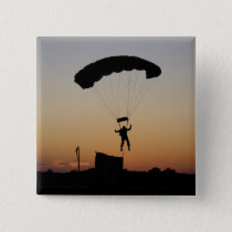 Skydiver Parachute at Sunset Button