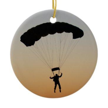 Skydiver Parachute at Sunset Ceramic Ornament