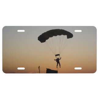 Skydiver Parachute at Sunset License Plate