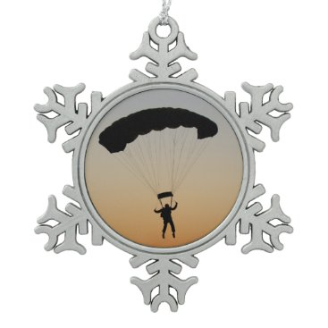 Skydiver Parachute at Sunset Snowflake Pewter Christmas Ornament
