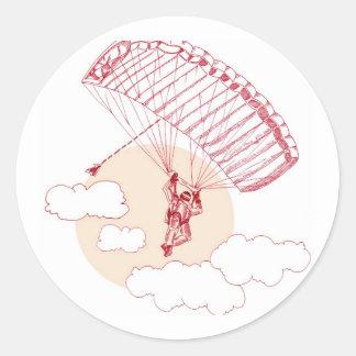 Skydiver Etiqueta Redonda