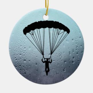 skydiver silhouette ceramic ornament
