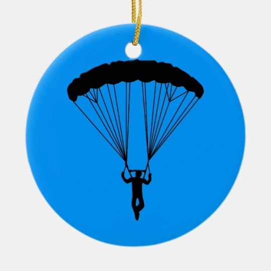 skydiver silhouette ceramic ornament