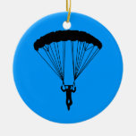 skydiver silhouette Double-Sided ceramic round christmas ornament