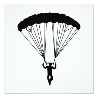 skydiver silhouette 5.25x5.25 square paper invitation card