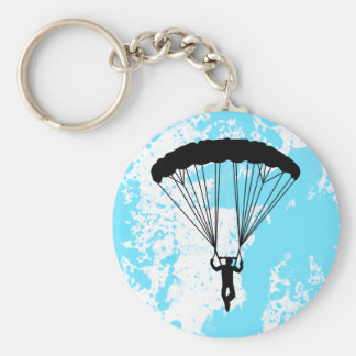 skydiver silhouette basic round button keychain